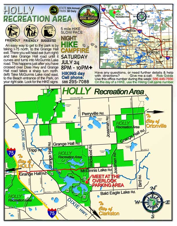 Holly Recreation Area Map MDNRE Park | HIKING MICHIGAN
